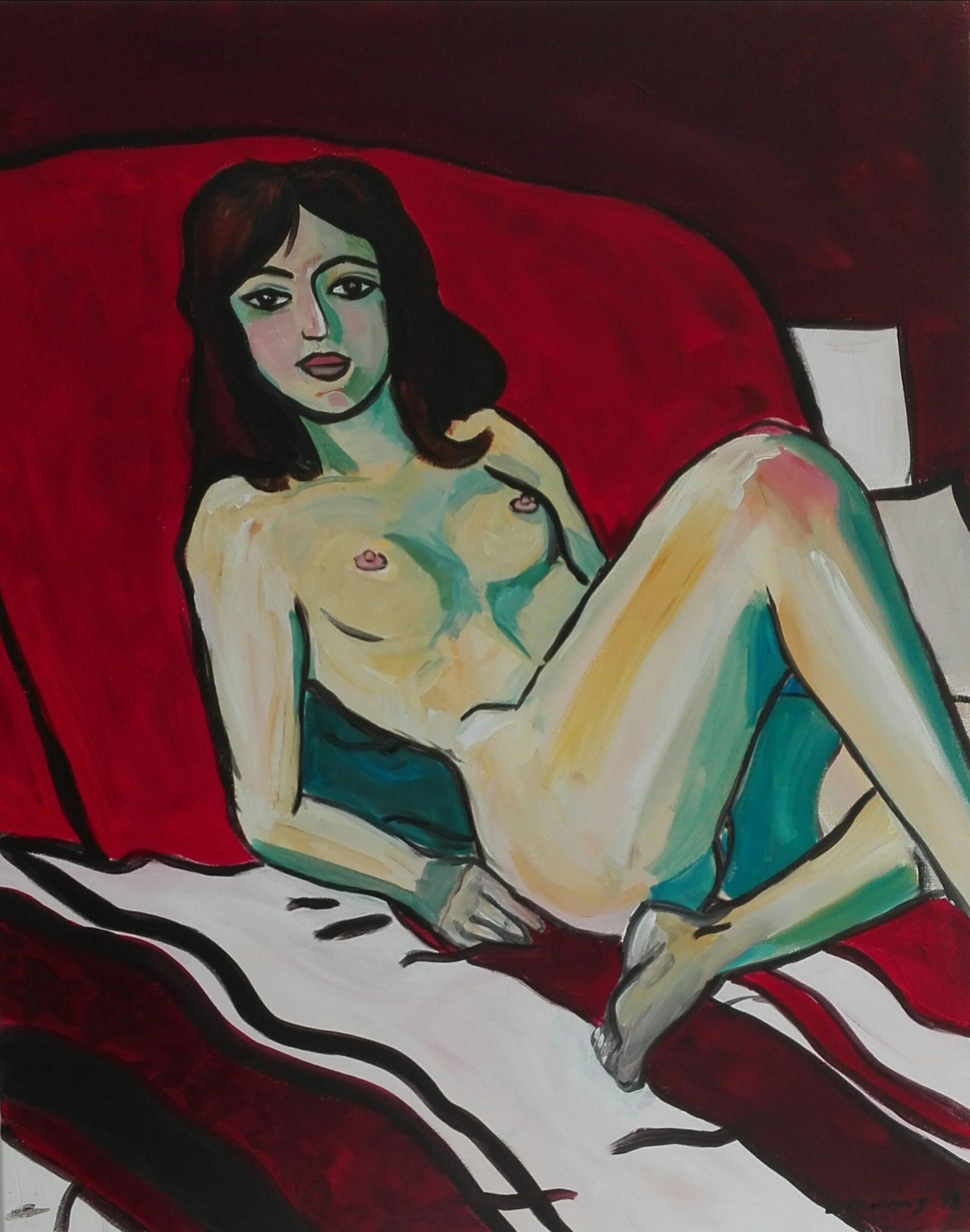 Nu rouge par Carole Durand